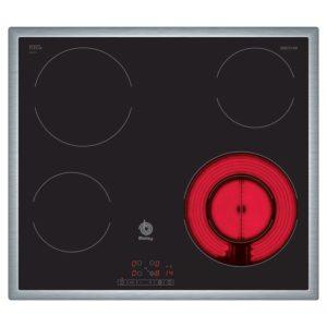 Encimera-placa vitrocerámica Balay 4 fuegos, marco acero inoxidable