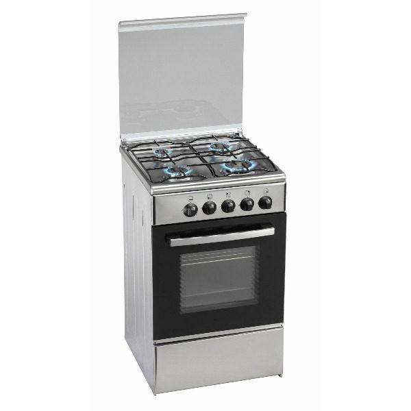 Cocina gas SIUL 4 fuegos con horno color inox