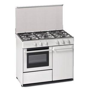 Cocina convencional REBRAND 90cm ancho 5 fuegos con horno blanca