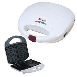 Sandwichera eléctrica de 2 cavidades 650 w color blanca Comelec